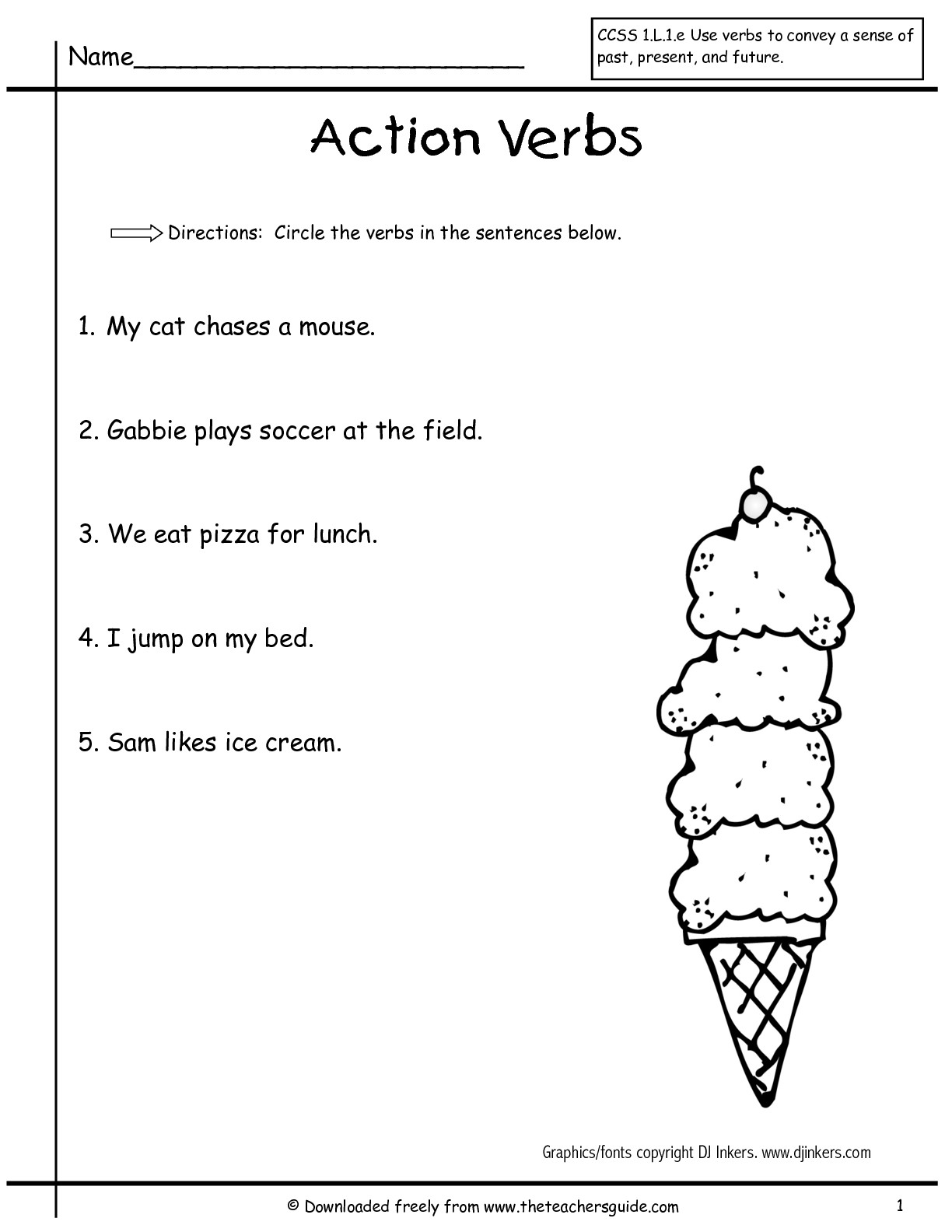 20 Best Images Of Printable Verbs Worksheets