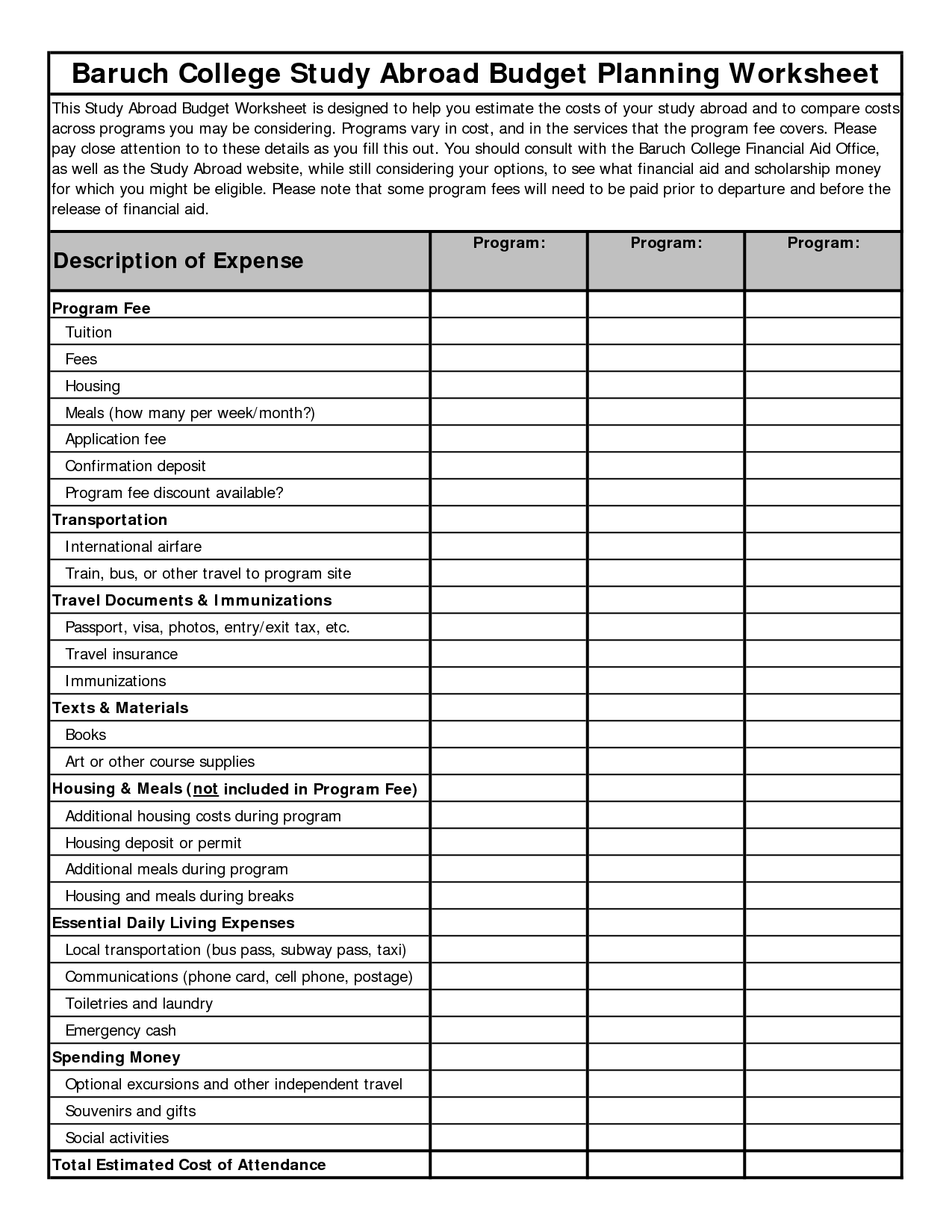 15 Best Images Of Easy Budget Worksheet Printable