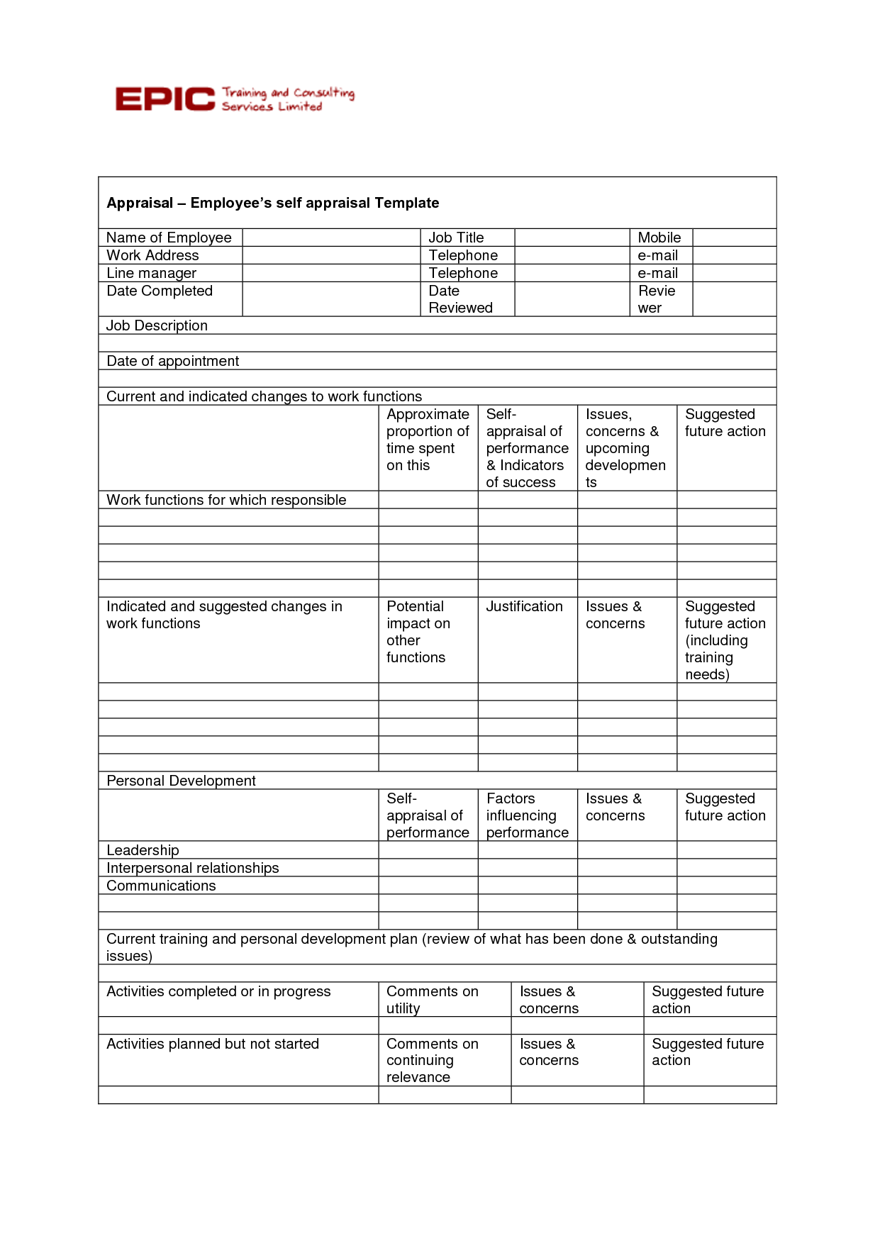 Employee Improvement Worksheet