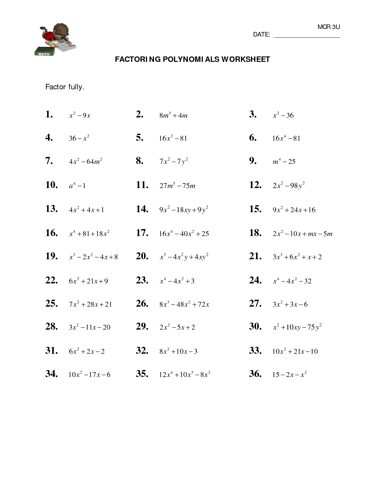12 Best Images Of Multiplying Polynomials Worksheet Answer