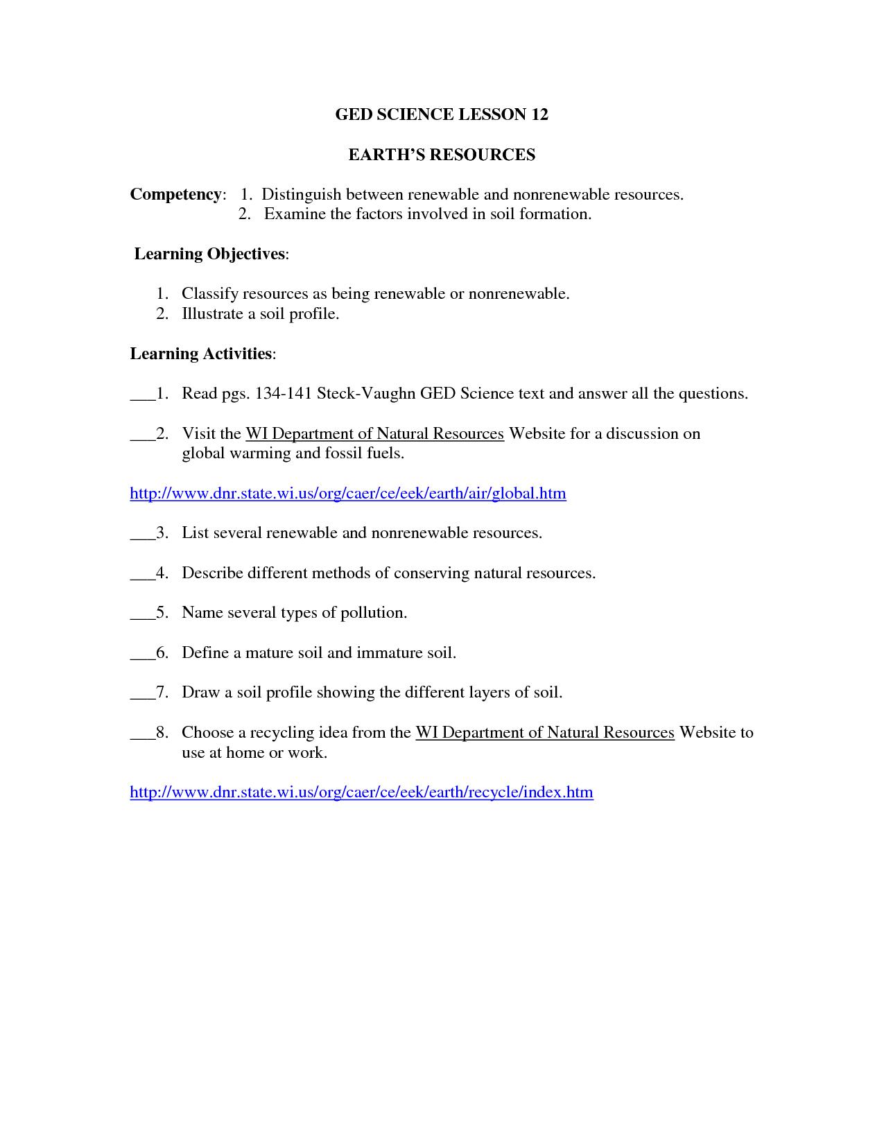 Ged Literature Worksheet