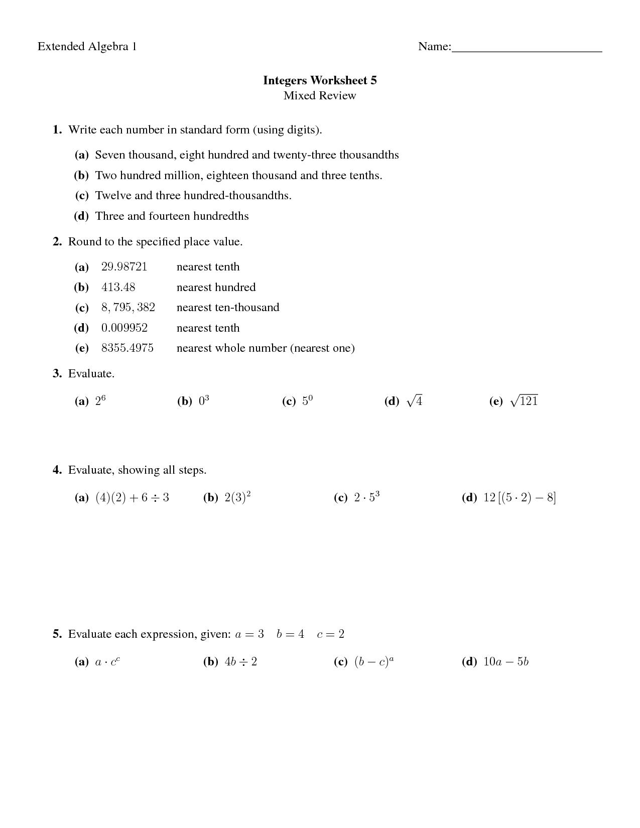 16 Best Images Of Pre Algebra Integers Worksheets