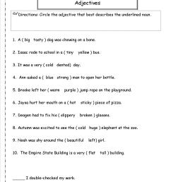 Adjective Worksheet 4th Grade   Printable Worksheets and Activities for  Teachers [ 1650 x 1275 Pixel ]