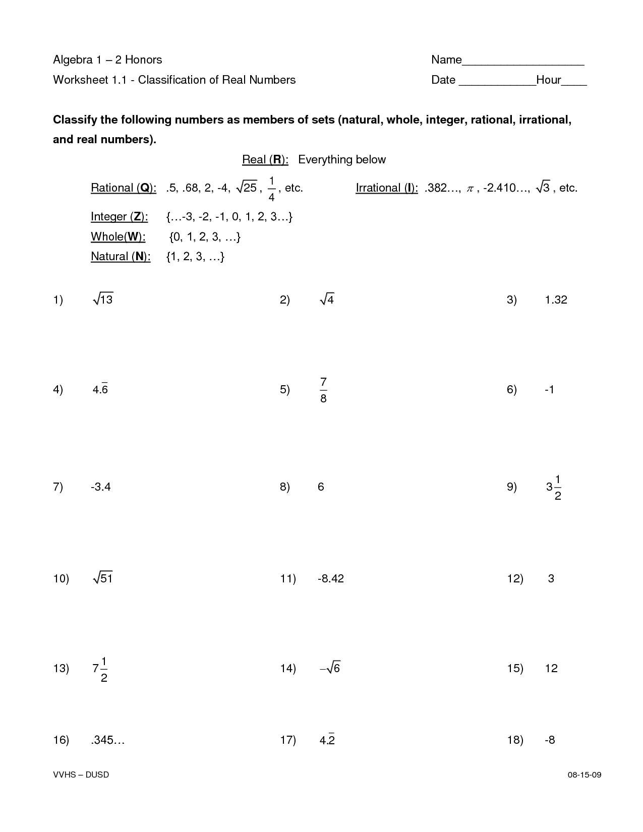 Classifying Stars Worksheet