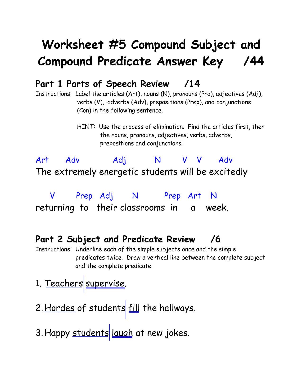 12 Best Images Of Simple And Compound Subjects Worksheets