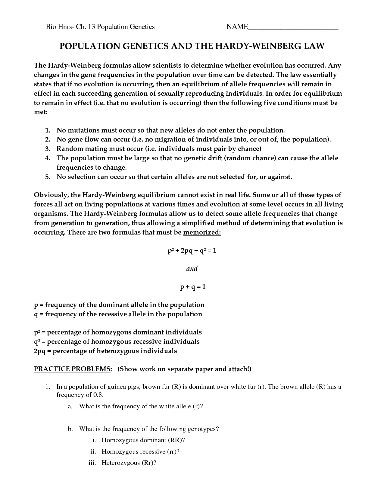13 Best Images Of Population Genetics Worksheet