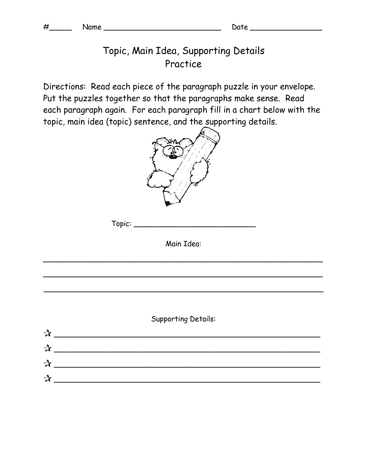 Detail Main Topic Worksheet