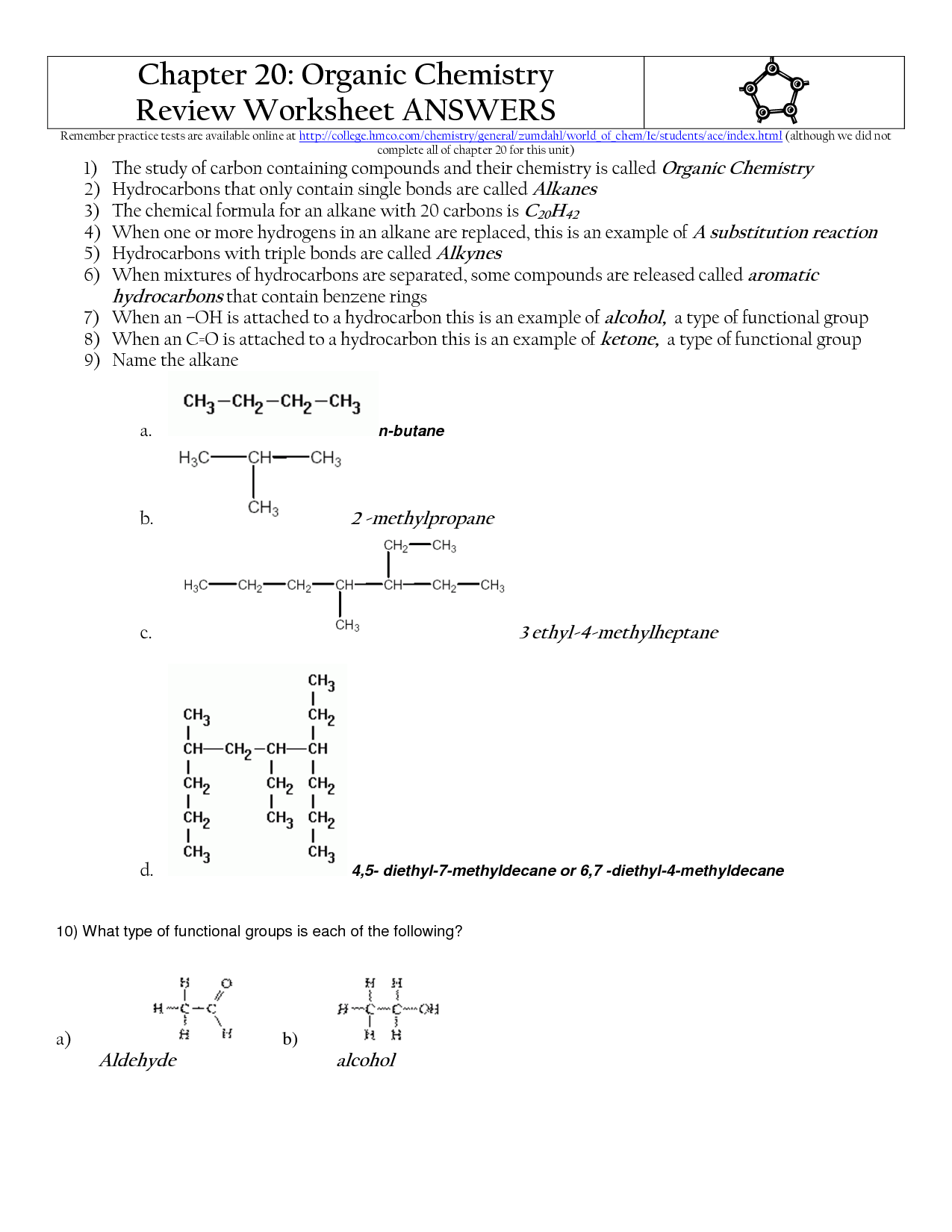 35 Organic Molecules Worksheet Review