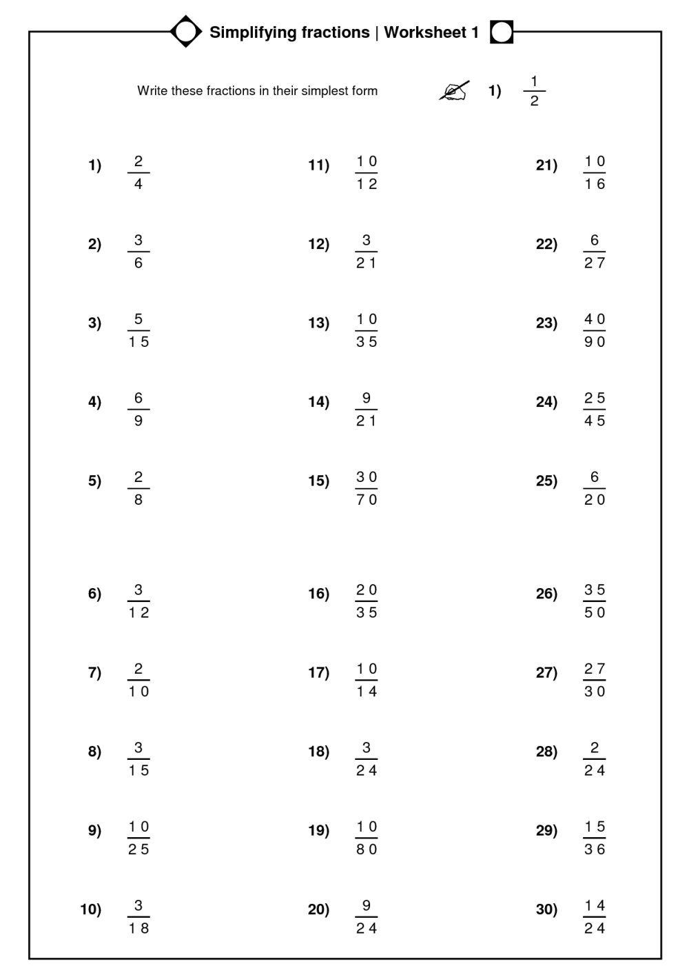 medium resolution of Simplify Mixed Numbers Worksheet   Printable Worksheets and Activities for  Teachers
