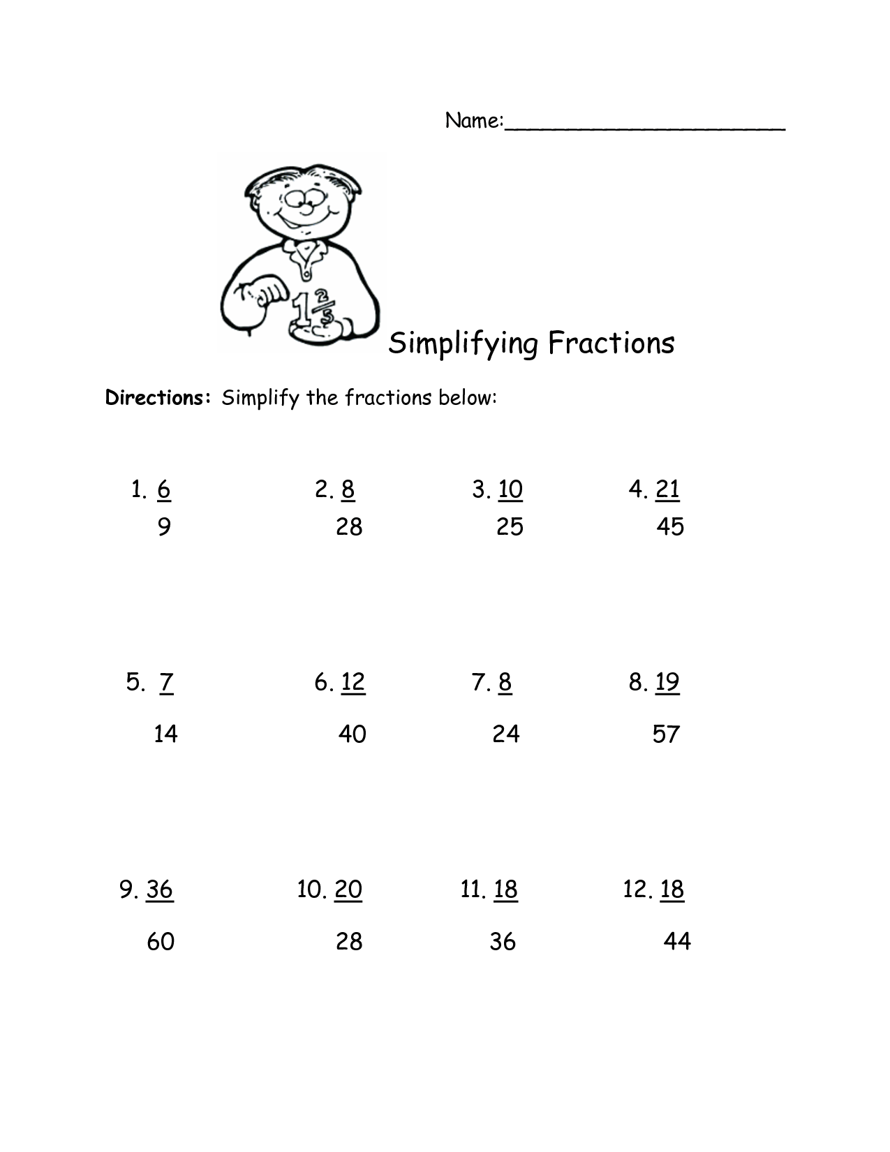 Simplifying Complex Fractions Worksheet