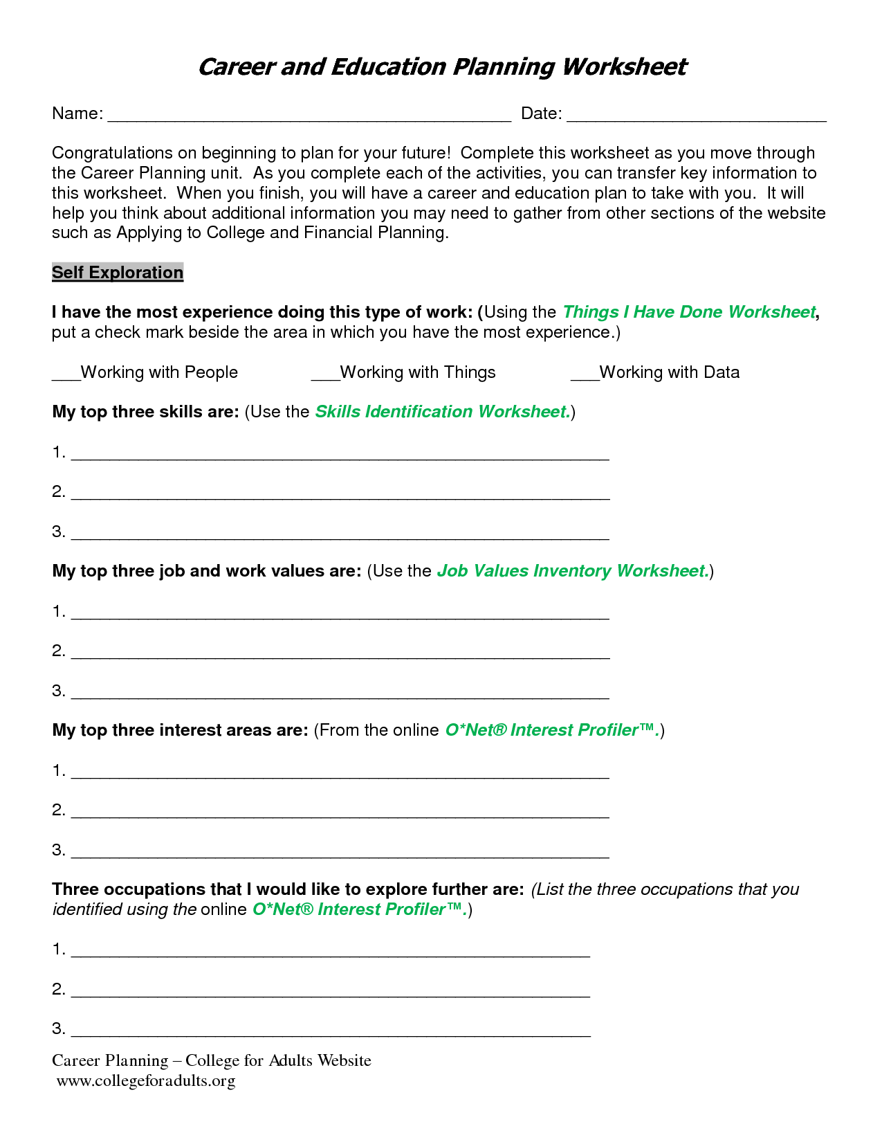 12 Best Images Of Job Exploration Worksheet