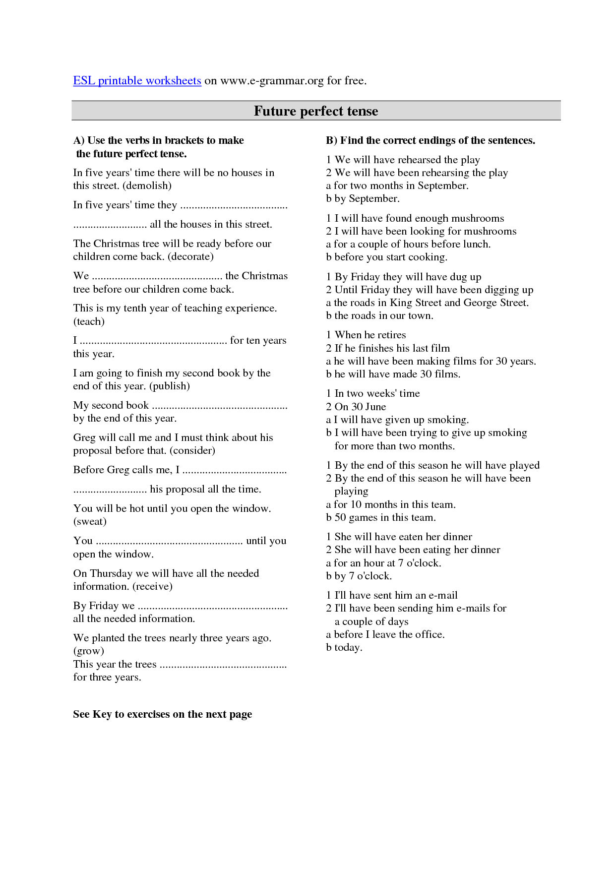 Tenses In English Grammar Worksheets