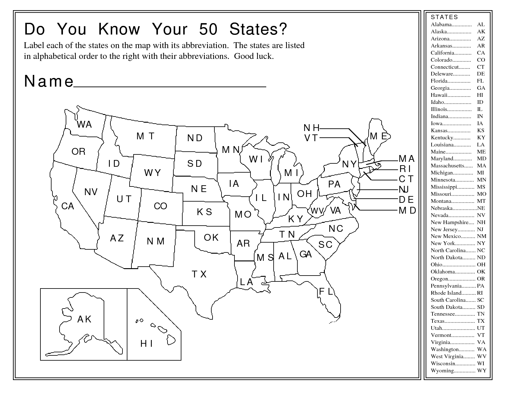 Label 50 States Worksheet