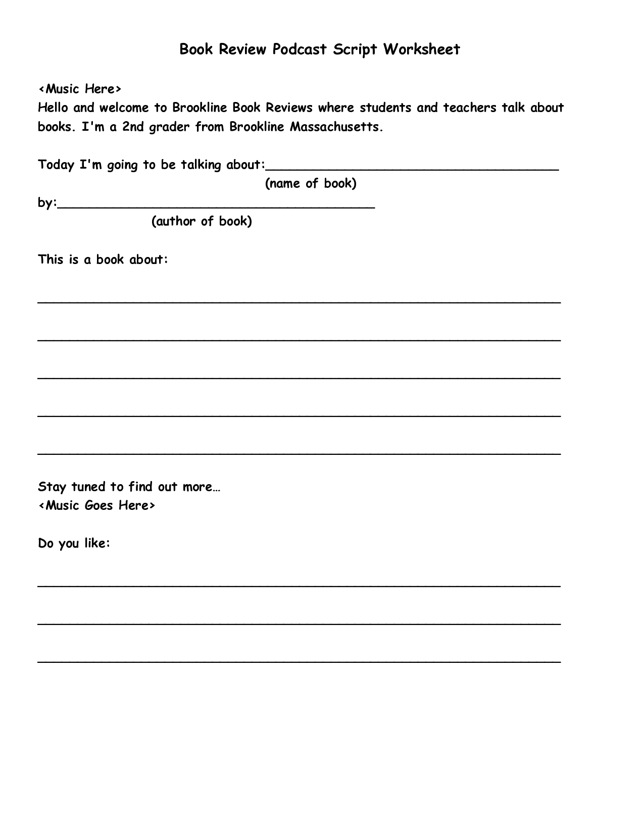 Chapter Book Worksheets