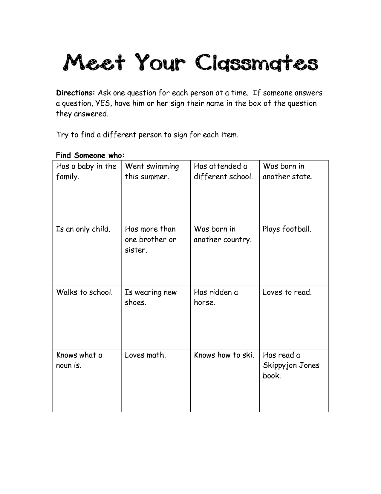 Human Scavenger Hunt Worksheet Image collections