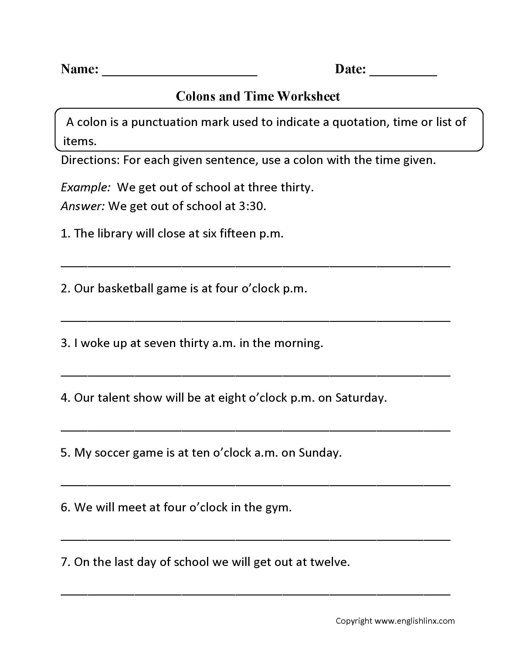 8 Best Images Of Colon Punctuation Worksheets