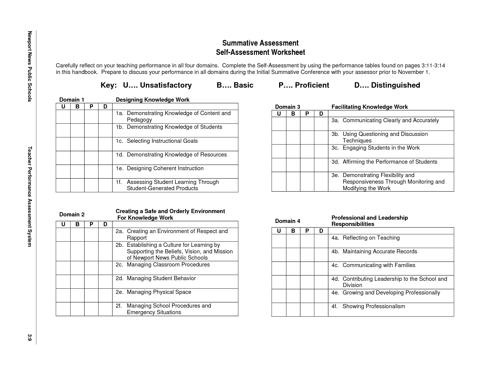 Assessment Worksheet Examples