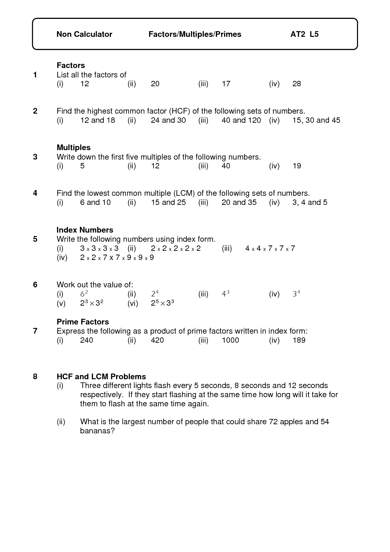 14 Best Images Of Number Properties Factors Worksheets