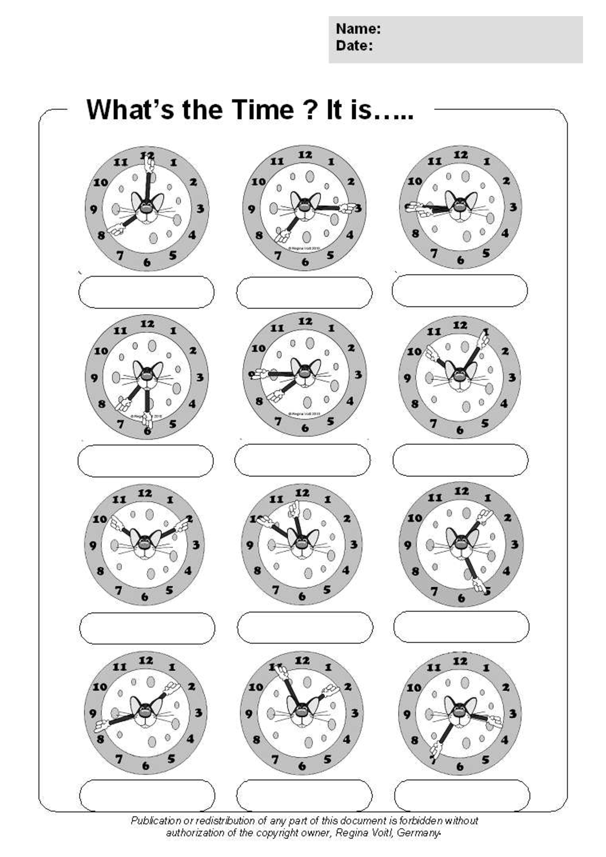 13 Best Images Of O Clock Telling Time Worksheets