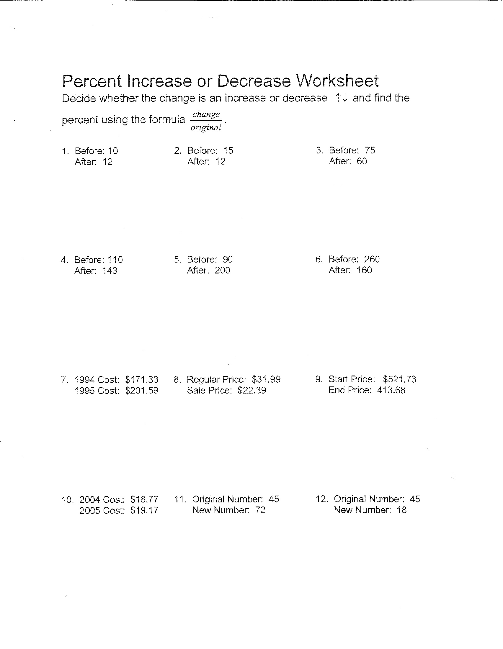 Worksheet Percent Increase And Decrease Worksheets Grass