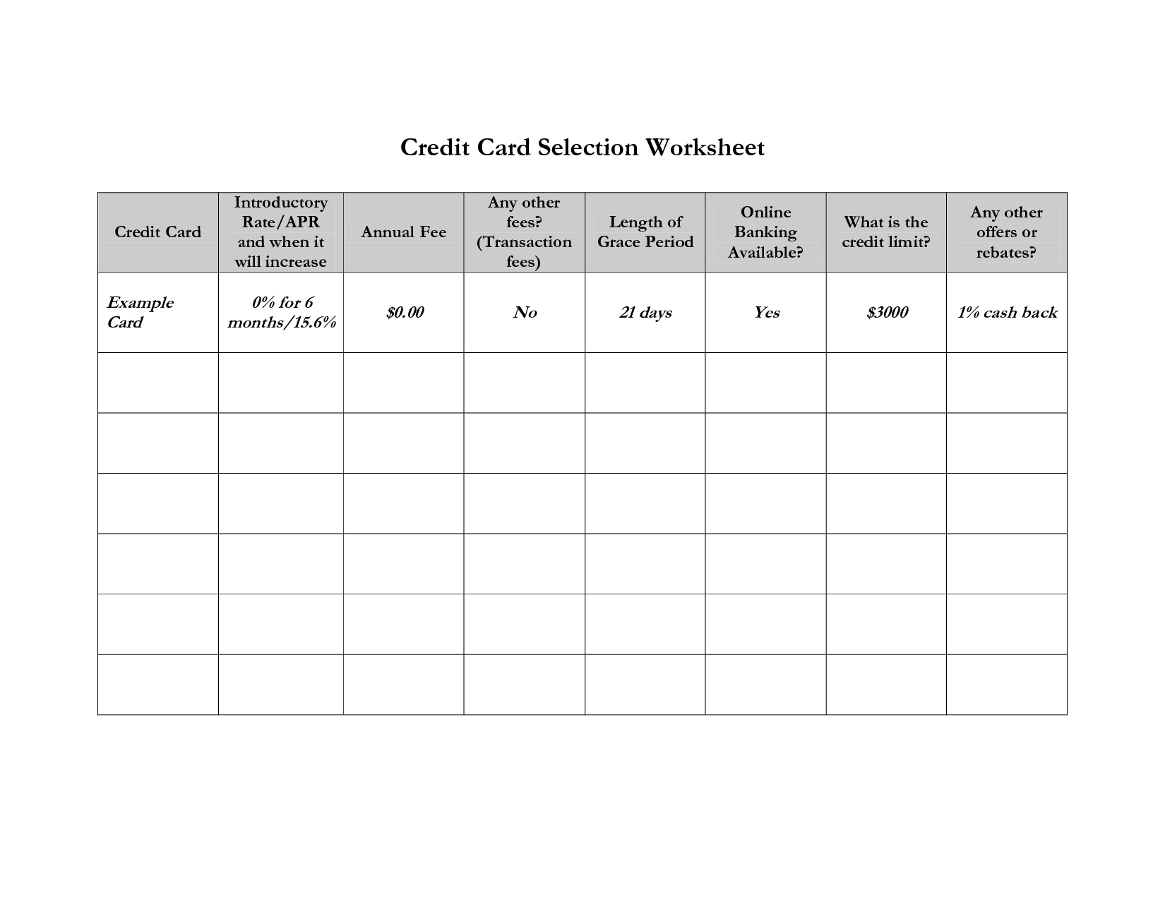 15 Best Images Of Pay Off Credit Card Worksheet