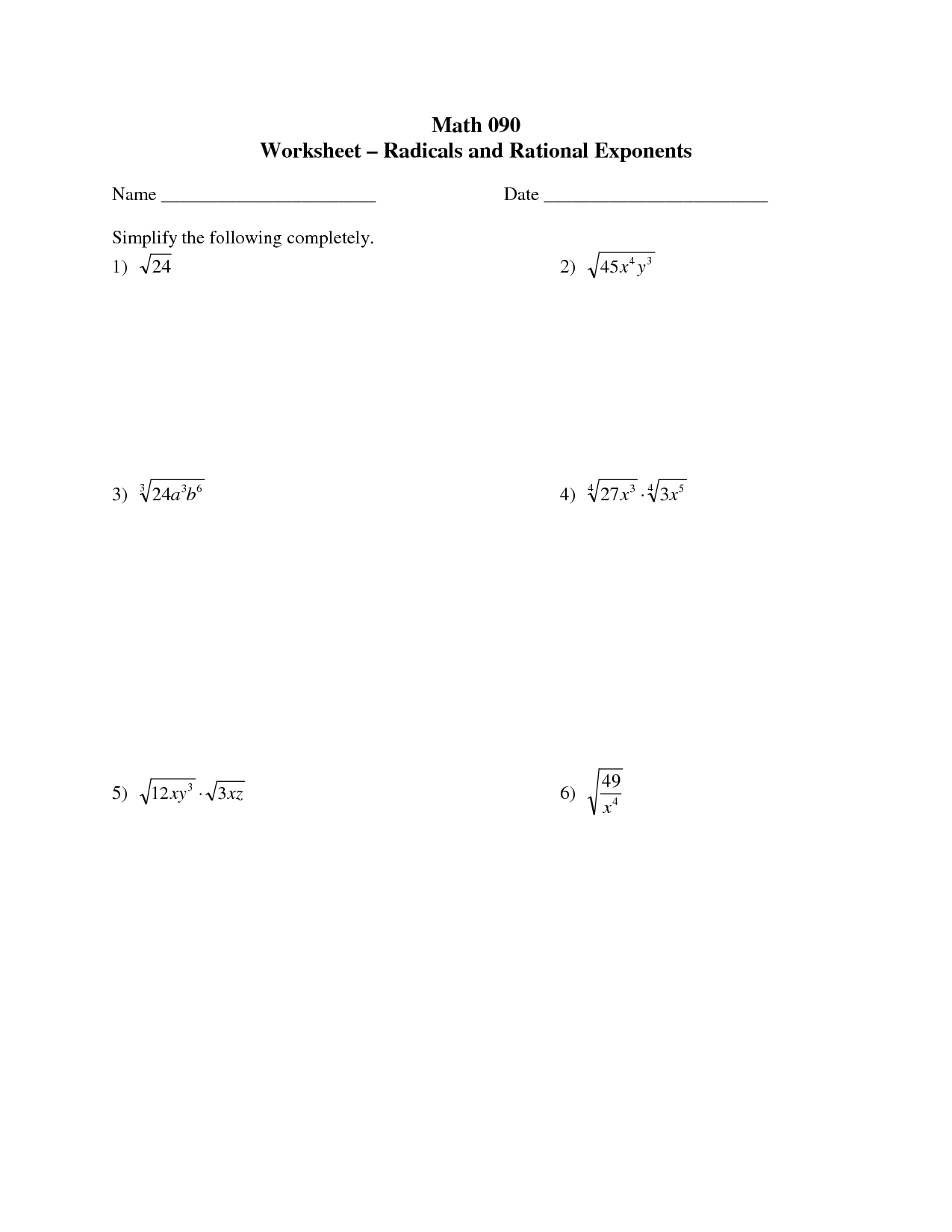 Worksheet On Exponents Grade 7