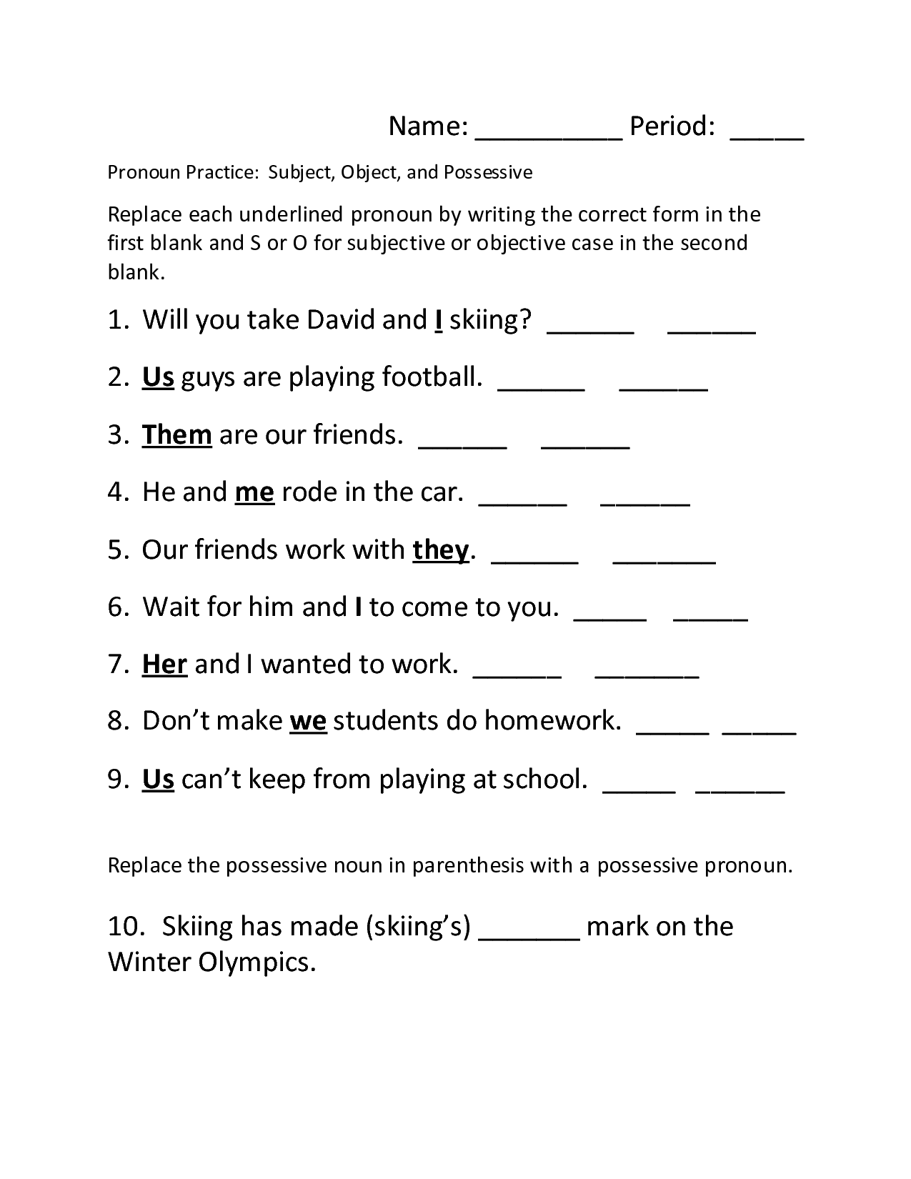 16 Best Images Of Spanish Pronoun Worksheet Printable