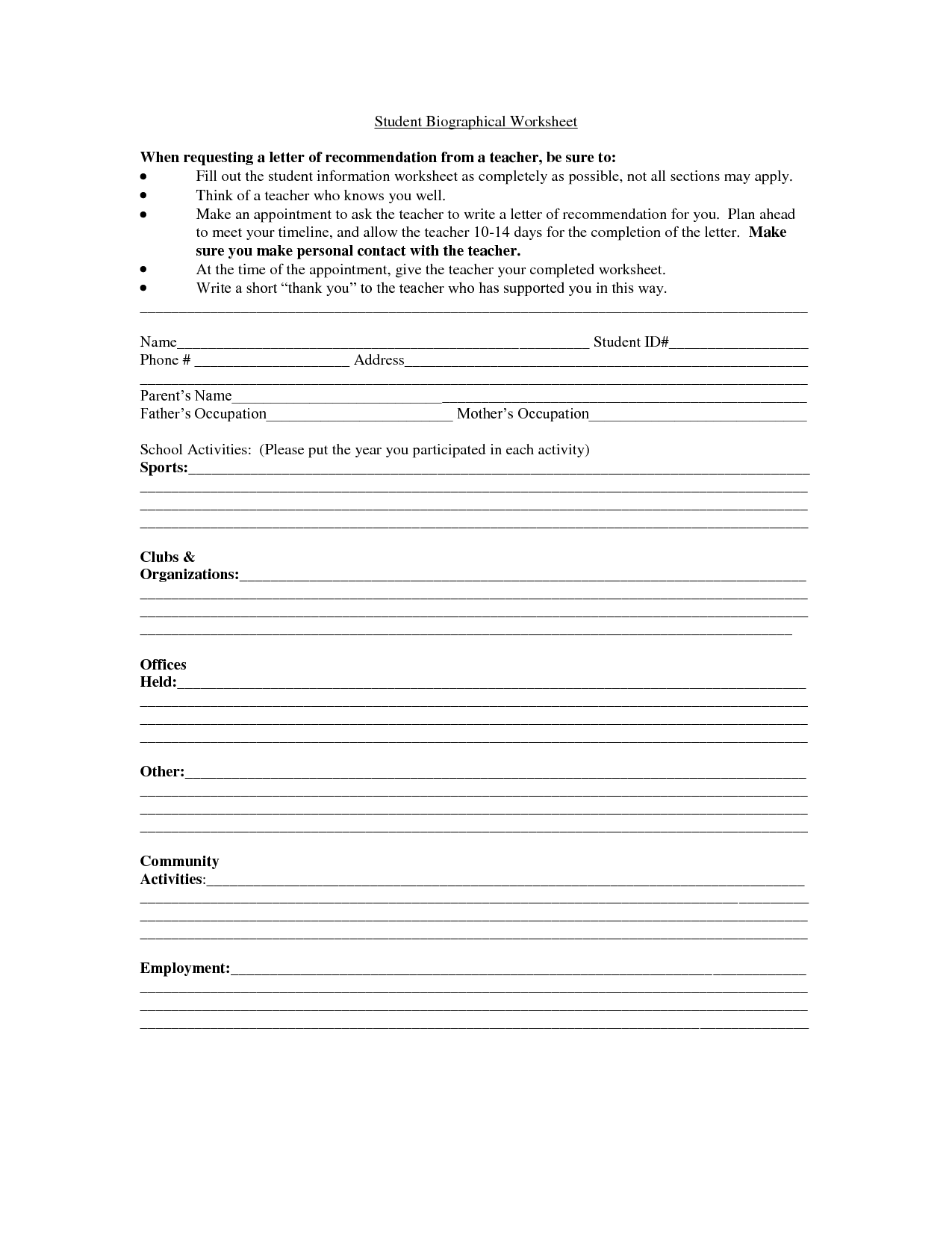 Basic Personal Information Worksheet