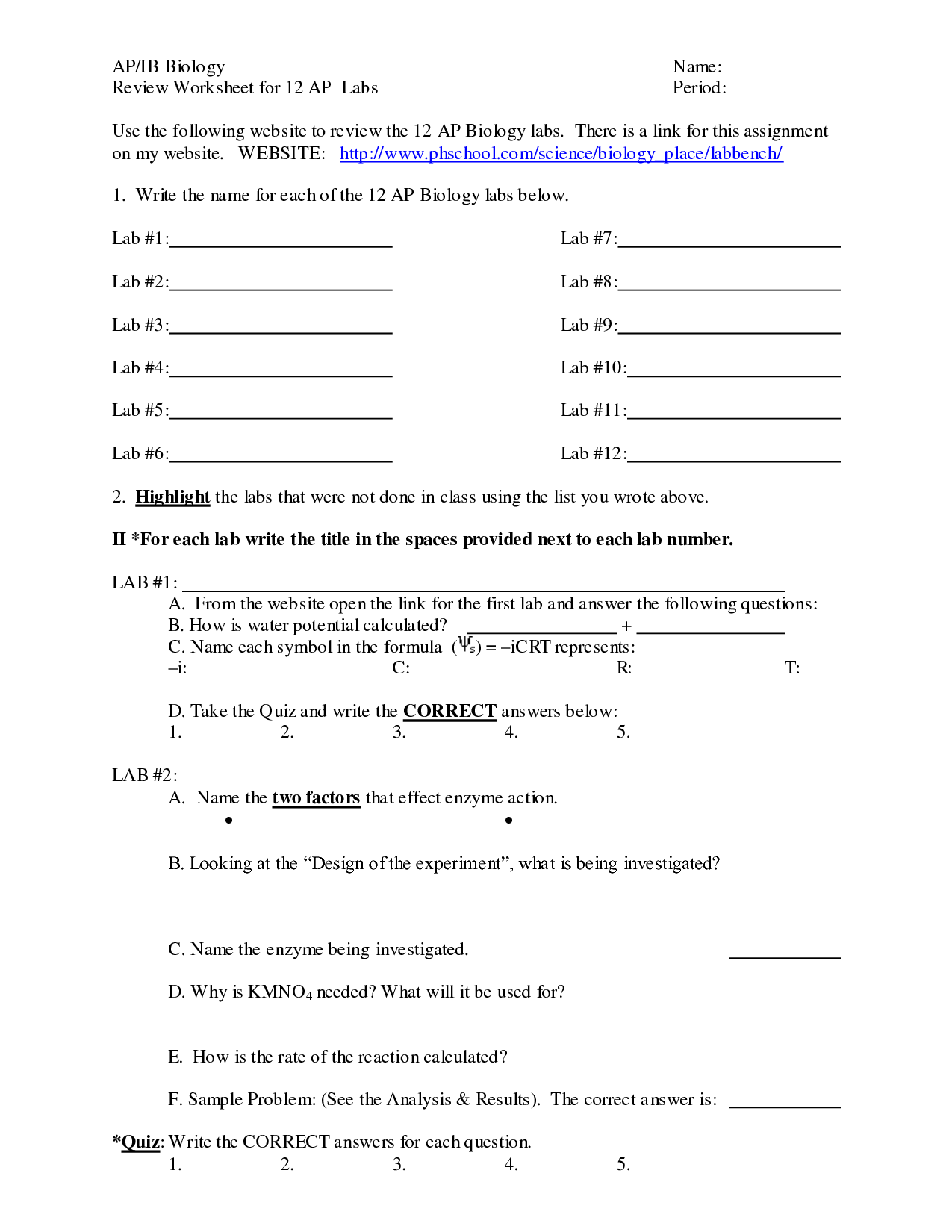 Biology Worksheet Category Page 2