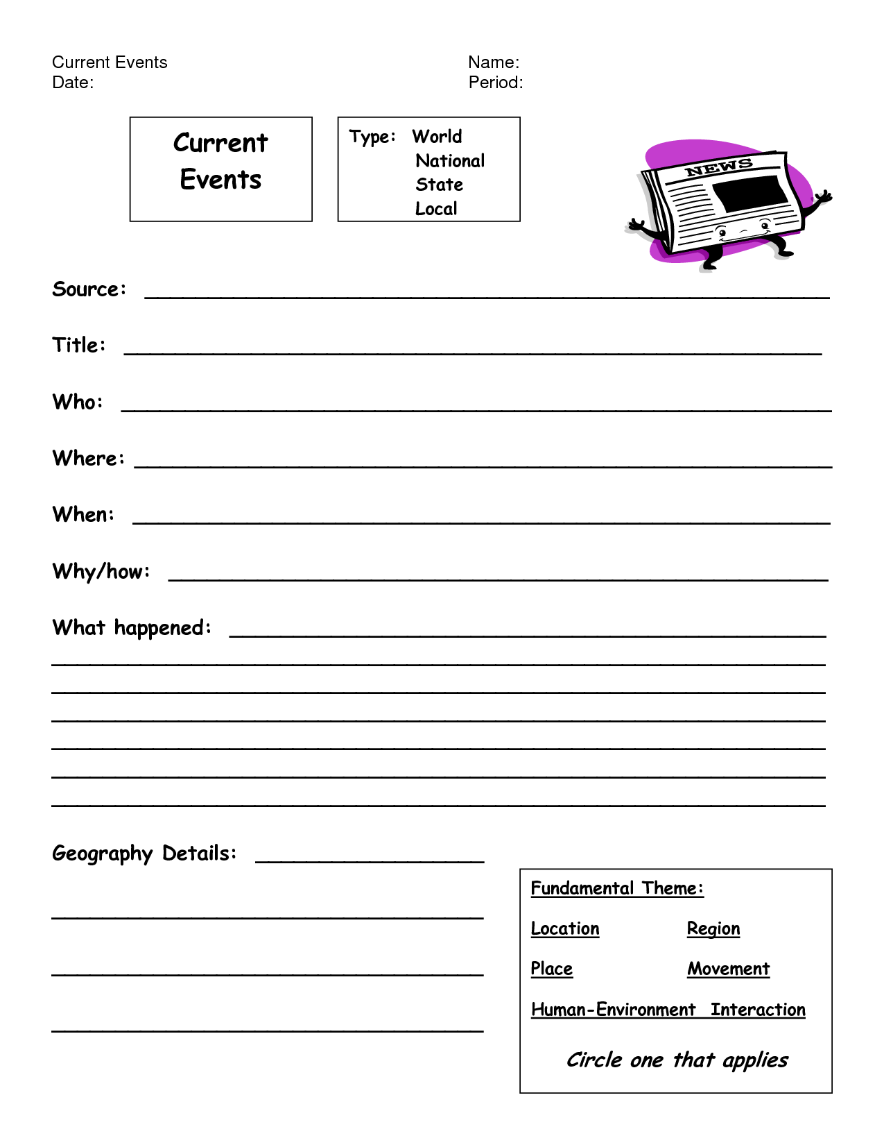 8 Best Images Of Weekly Current Events Worksheet