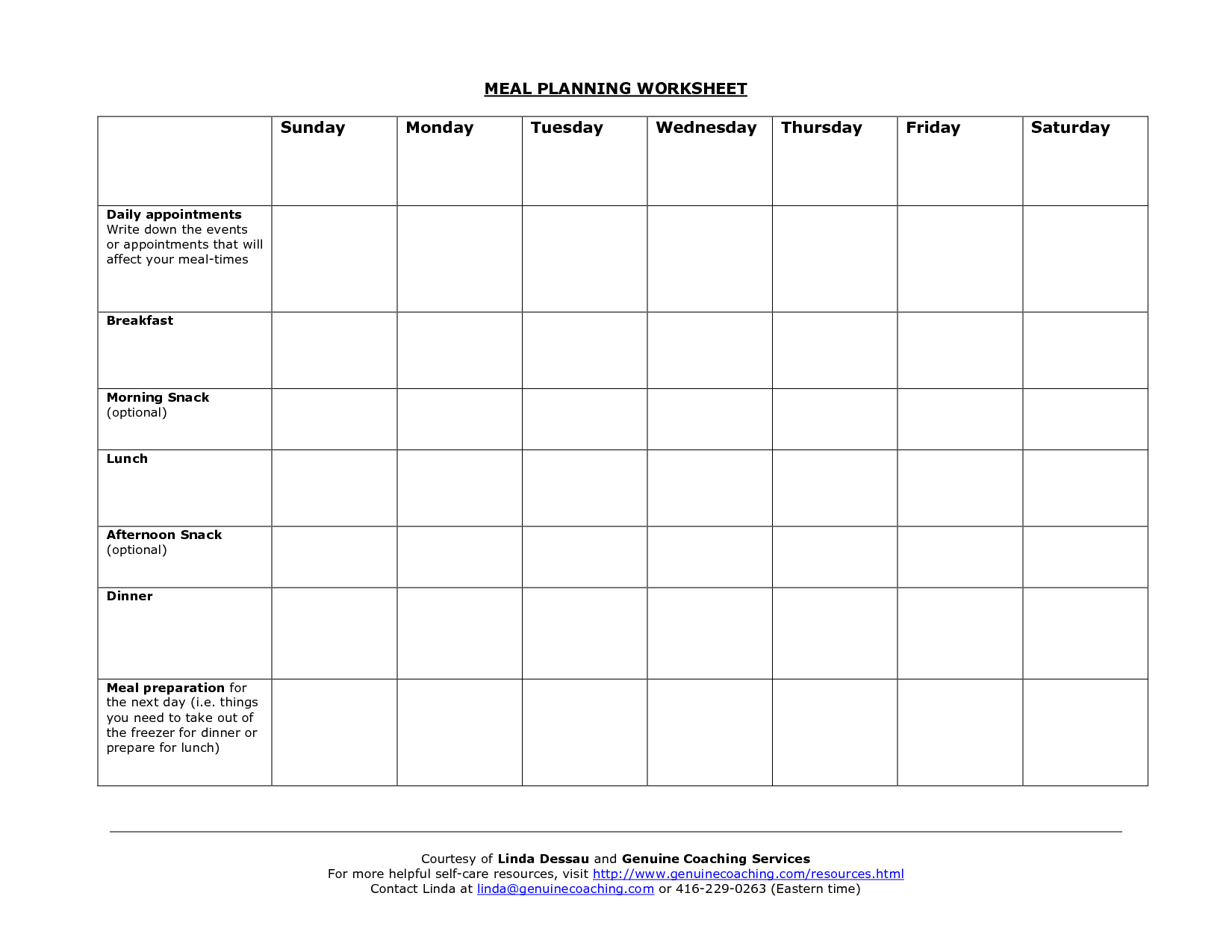 34 My Daily Food Plan Worksheet
