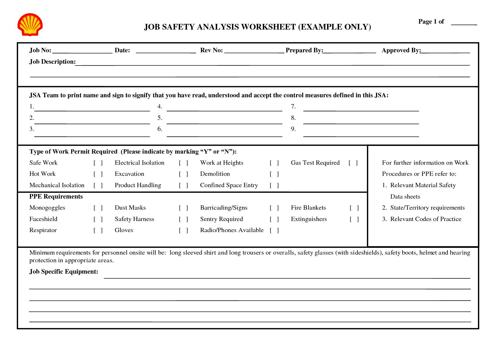 Safety Practices Worksheet
