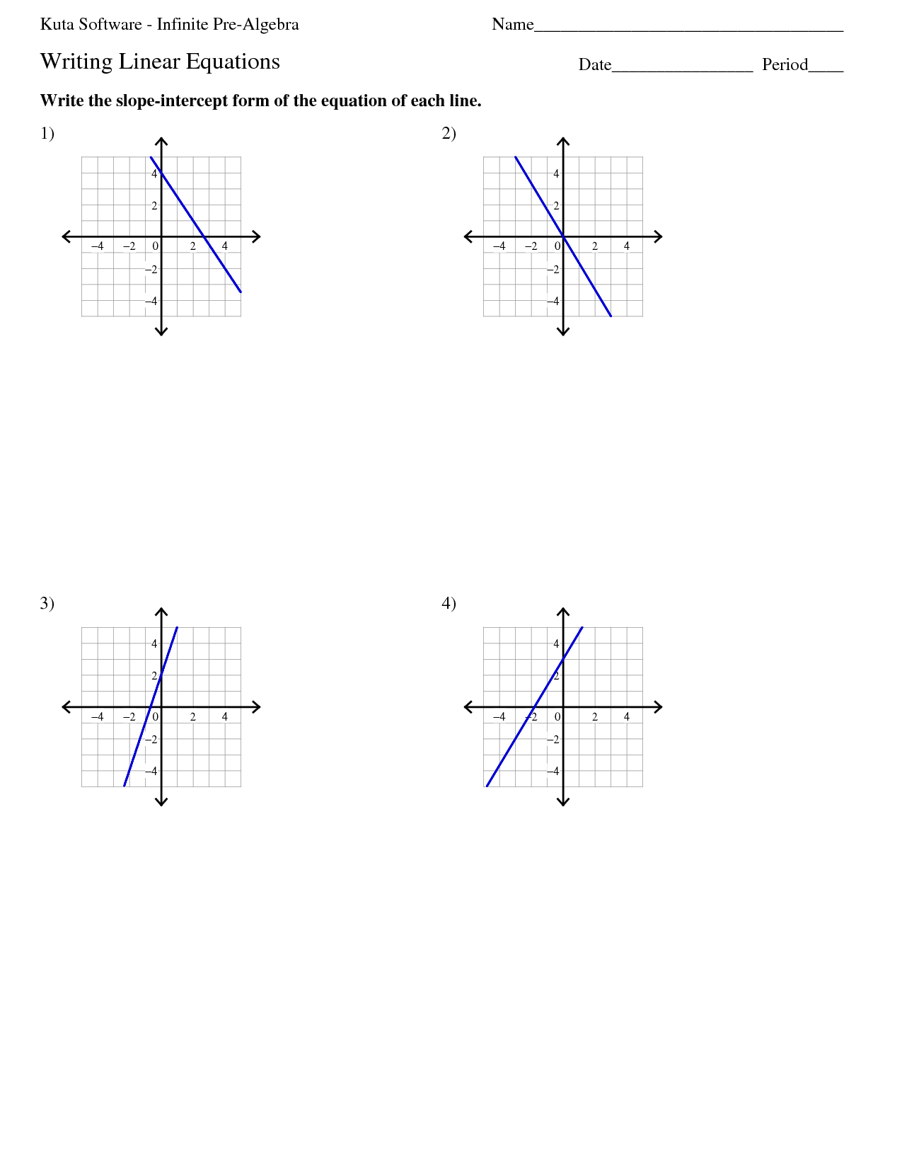 Algebra 1 Point Slope Form Worksheet Key