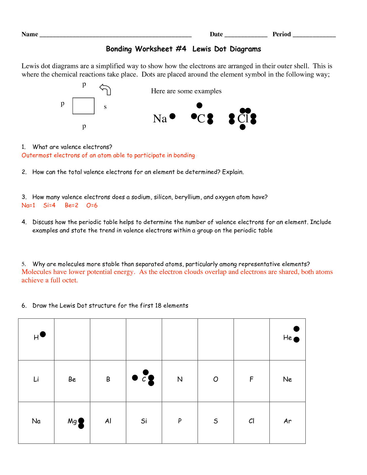 Lewis Structure Worksheet And Answers