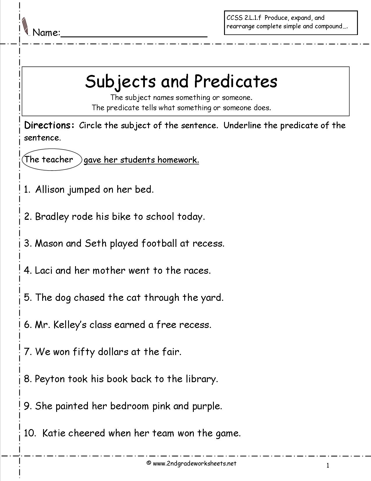hight resolution of Subject Predicate Worksheets Third Grade   Printable Worksheets and  Activities for Teachers