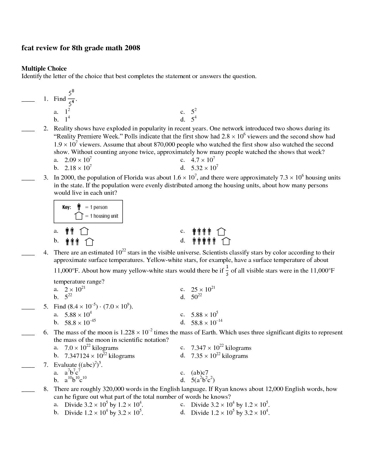 8th Grade Math Study Guide