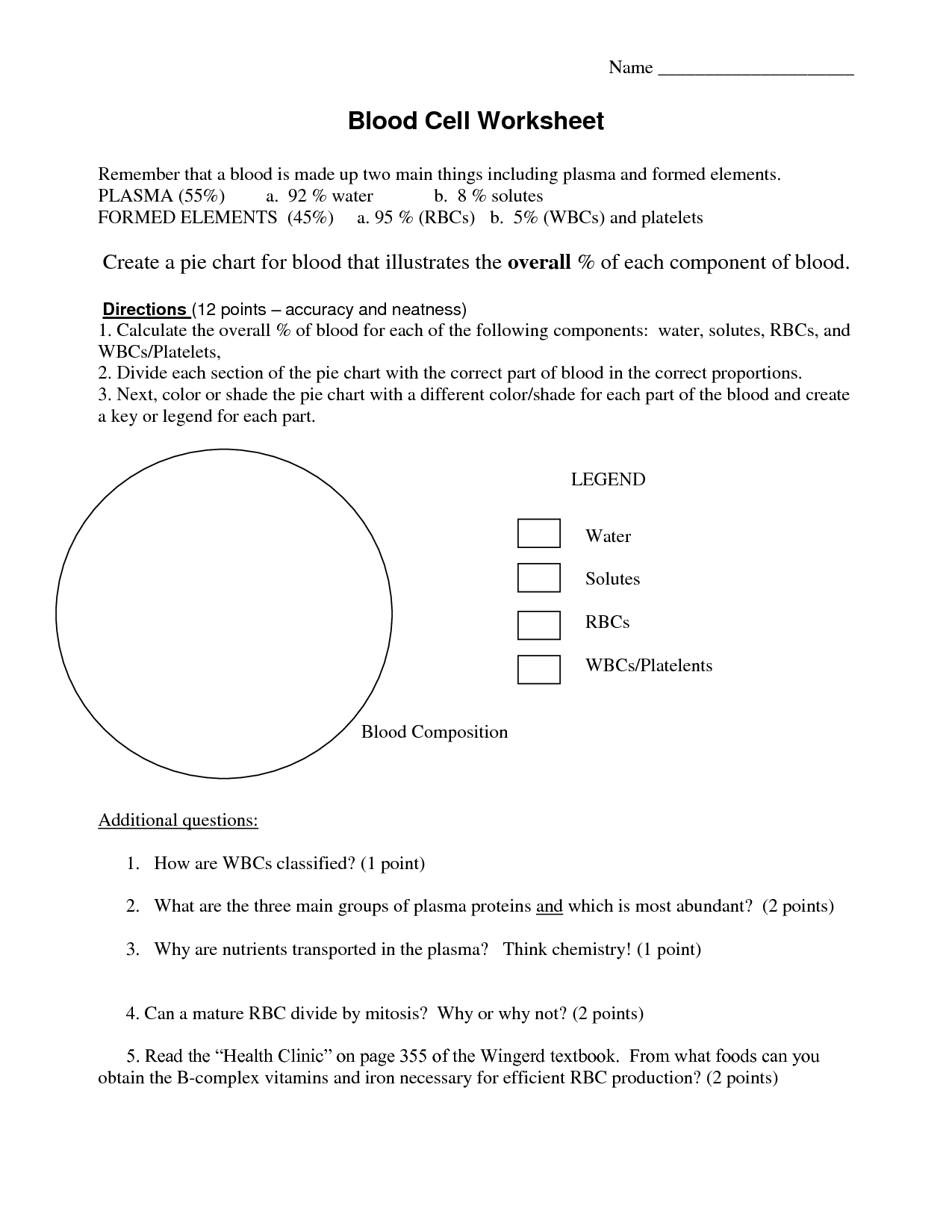 Blood Worksheet Answers Matching