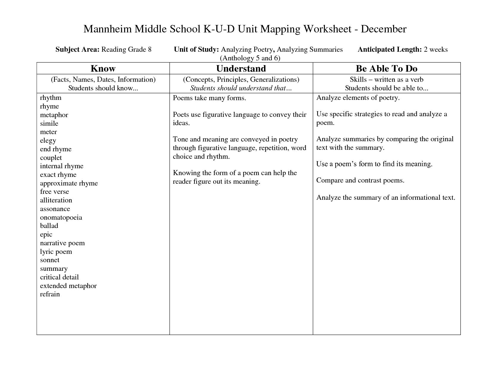 Printable Simile Worksheets