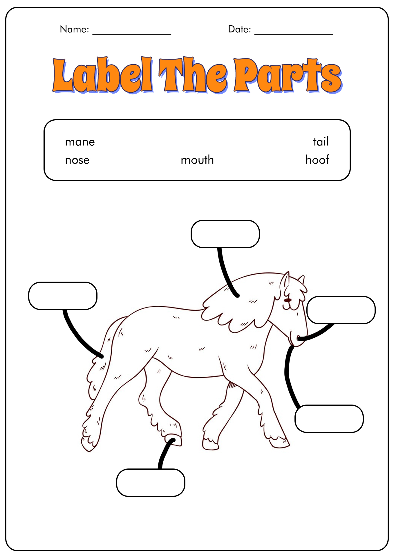 18 Best Images Of Horse Study Worksheets