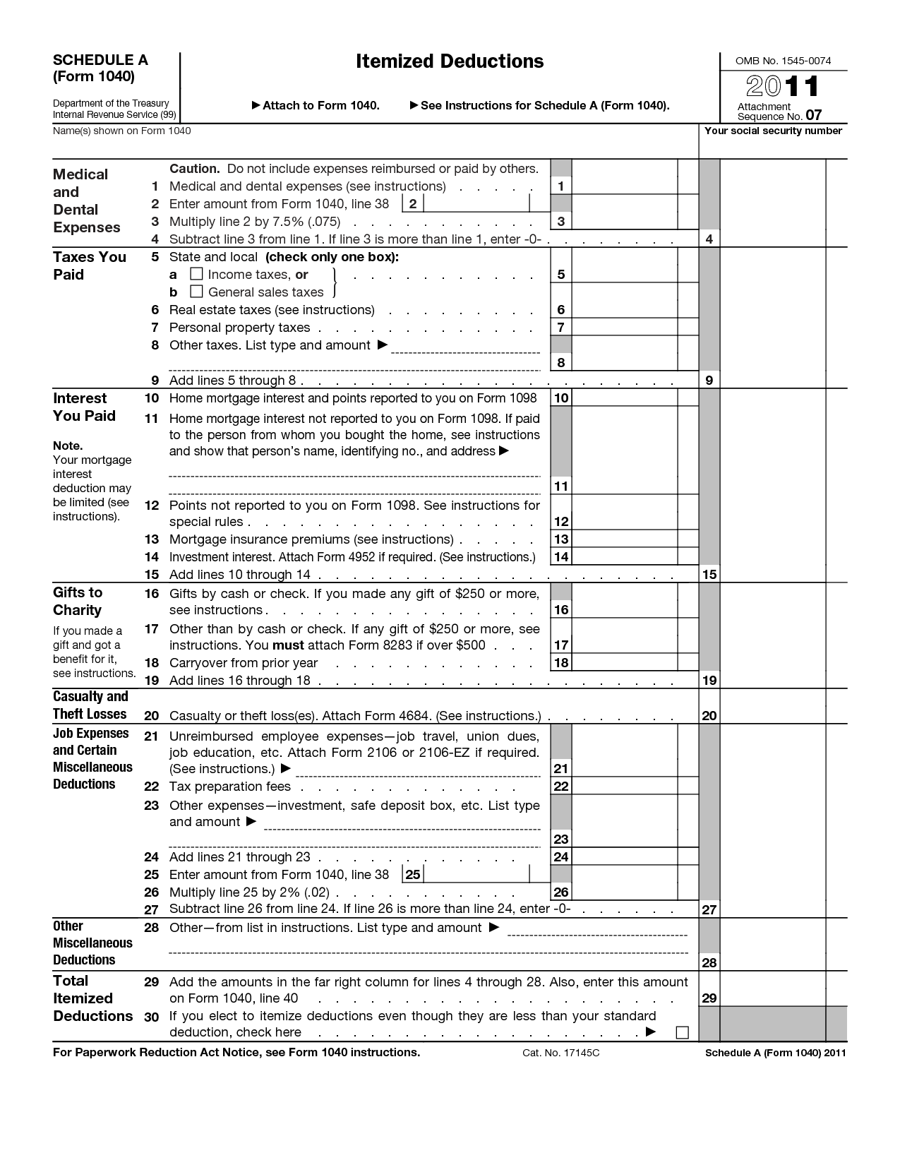 14 Best Images Of Irs Itemized Deductions Worksheet