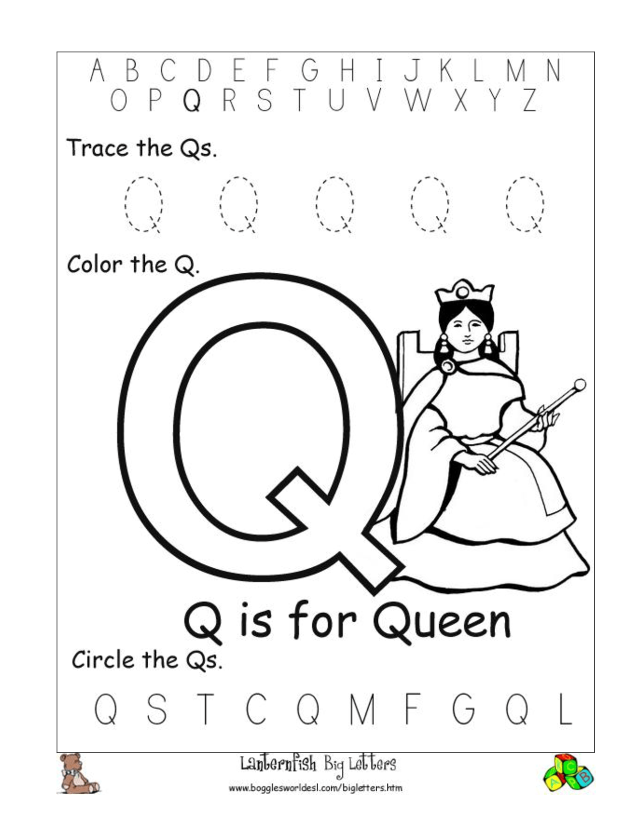 Printable Q Worksheet For Preschoolers