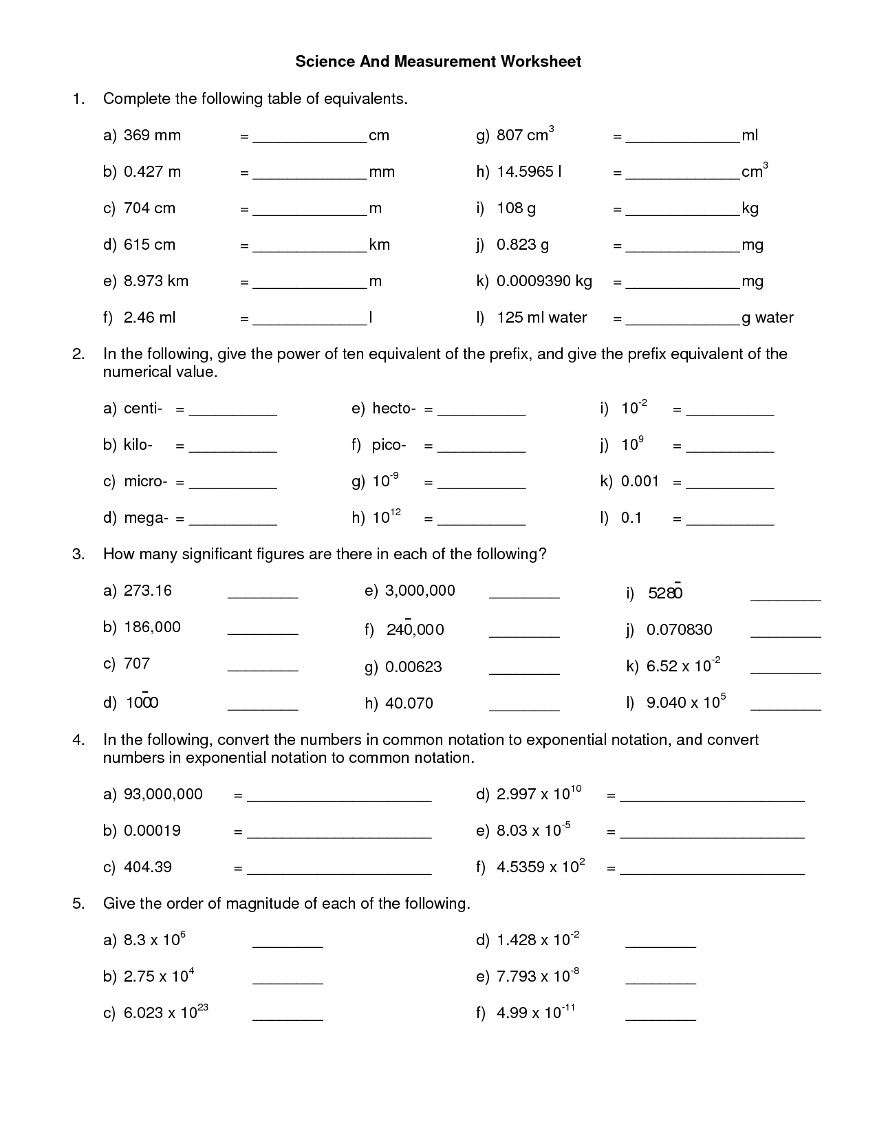 Worksheet Linear Measurement 16th