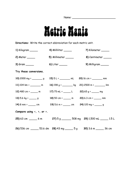 small resolution of Metric Conversions Worksheets 7th Grade   Printable Worksheets and  Activities for Teachers