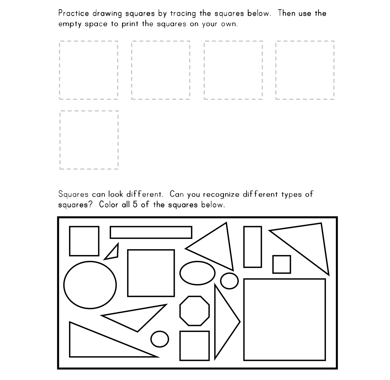 Square Worksheet Kindergarten