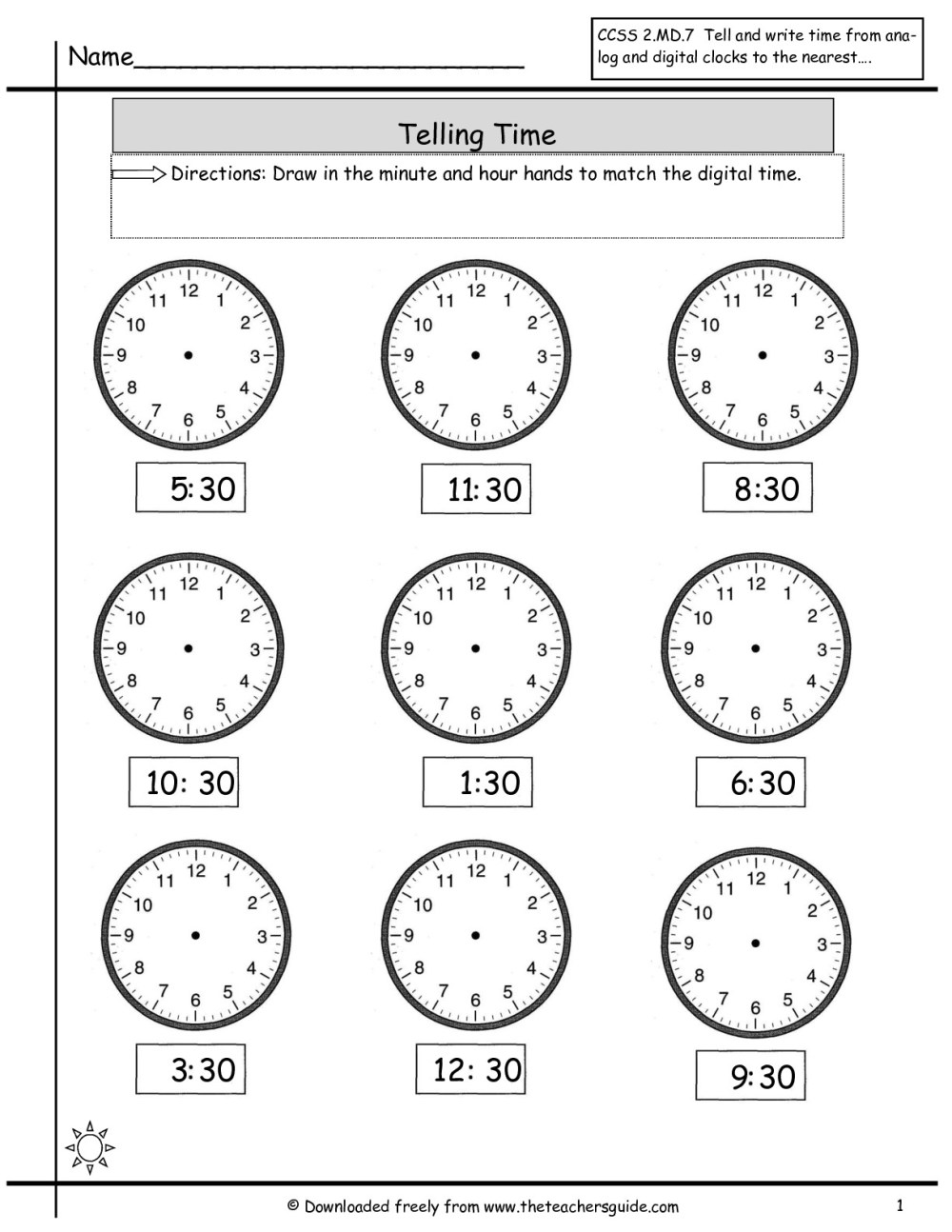 medium resolution of Time Worksheet Hour And Half Hour   Printable Worksheets and Activities for  Teachers