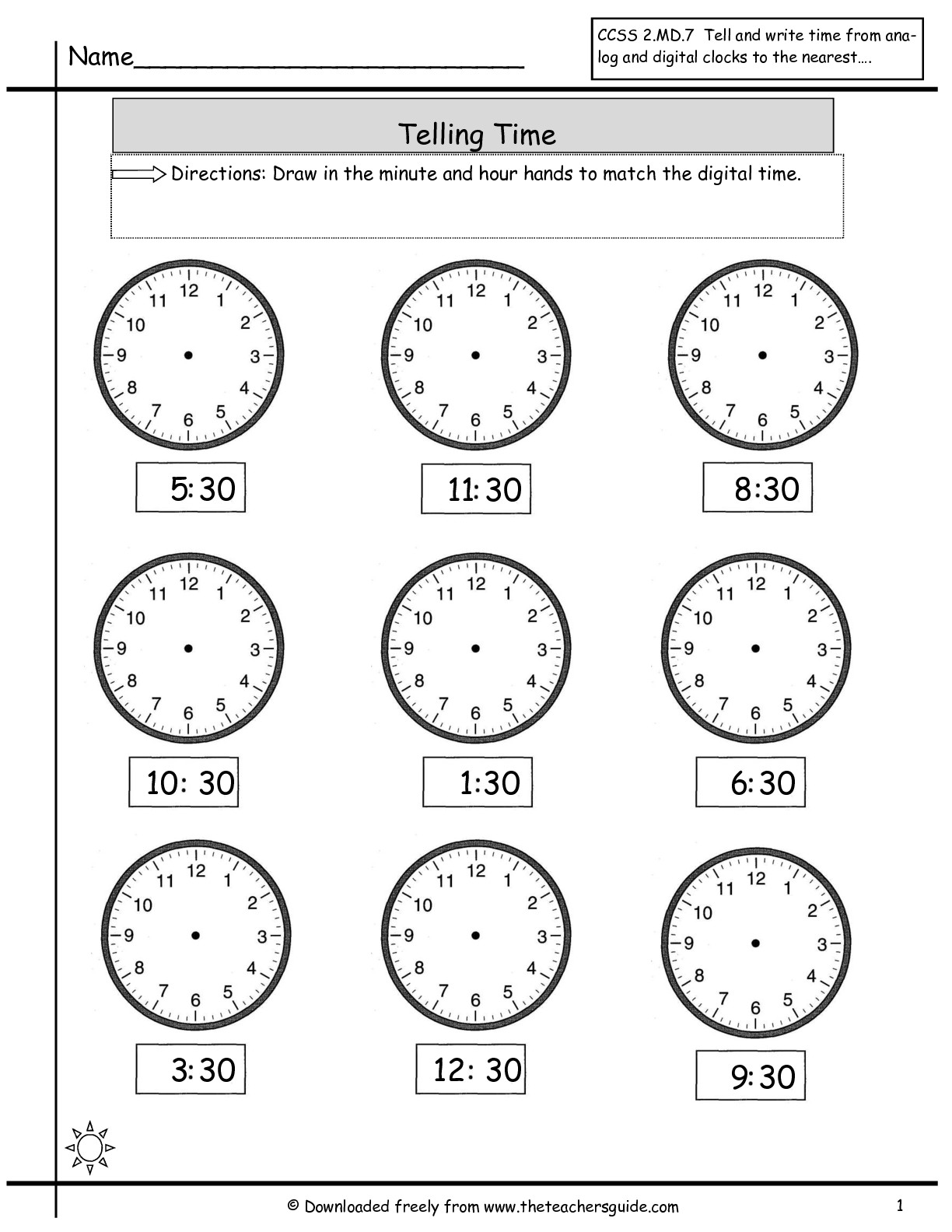 hight resolution of Time Worksheet Hour And Half Hour   Printable Worksheets and Activities for  Teachers