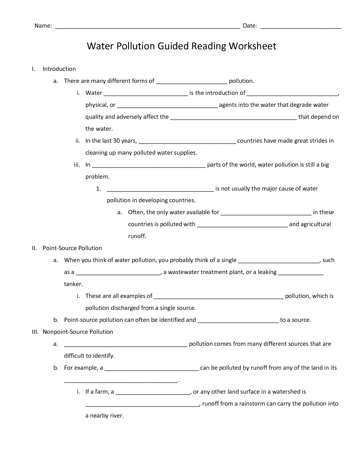 Pollution On Land Worksheet