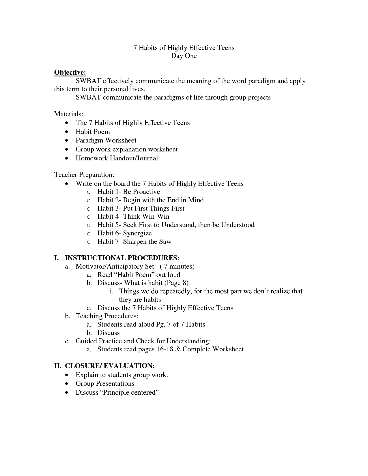 13 Best Images Of Workplace Habits Worksheet