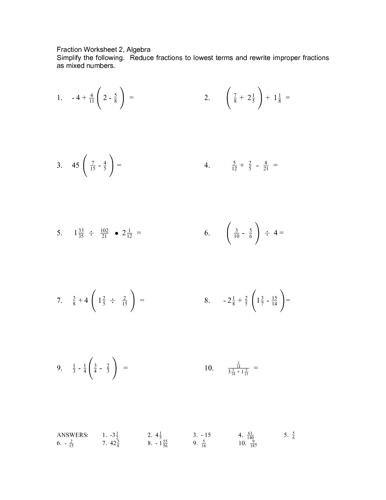 Basic Algabraic Fractions Worksheet
