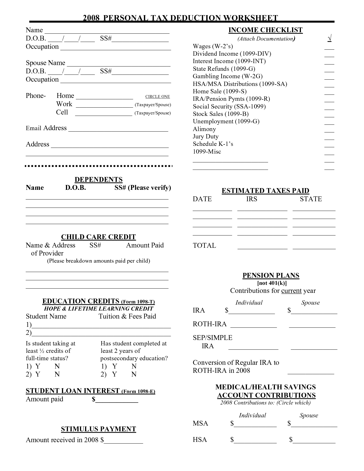 16 Best Images Of Tax Organizer Worksheet